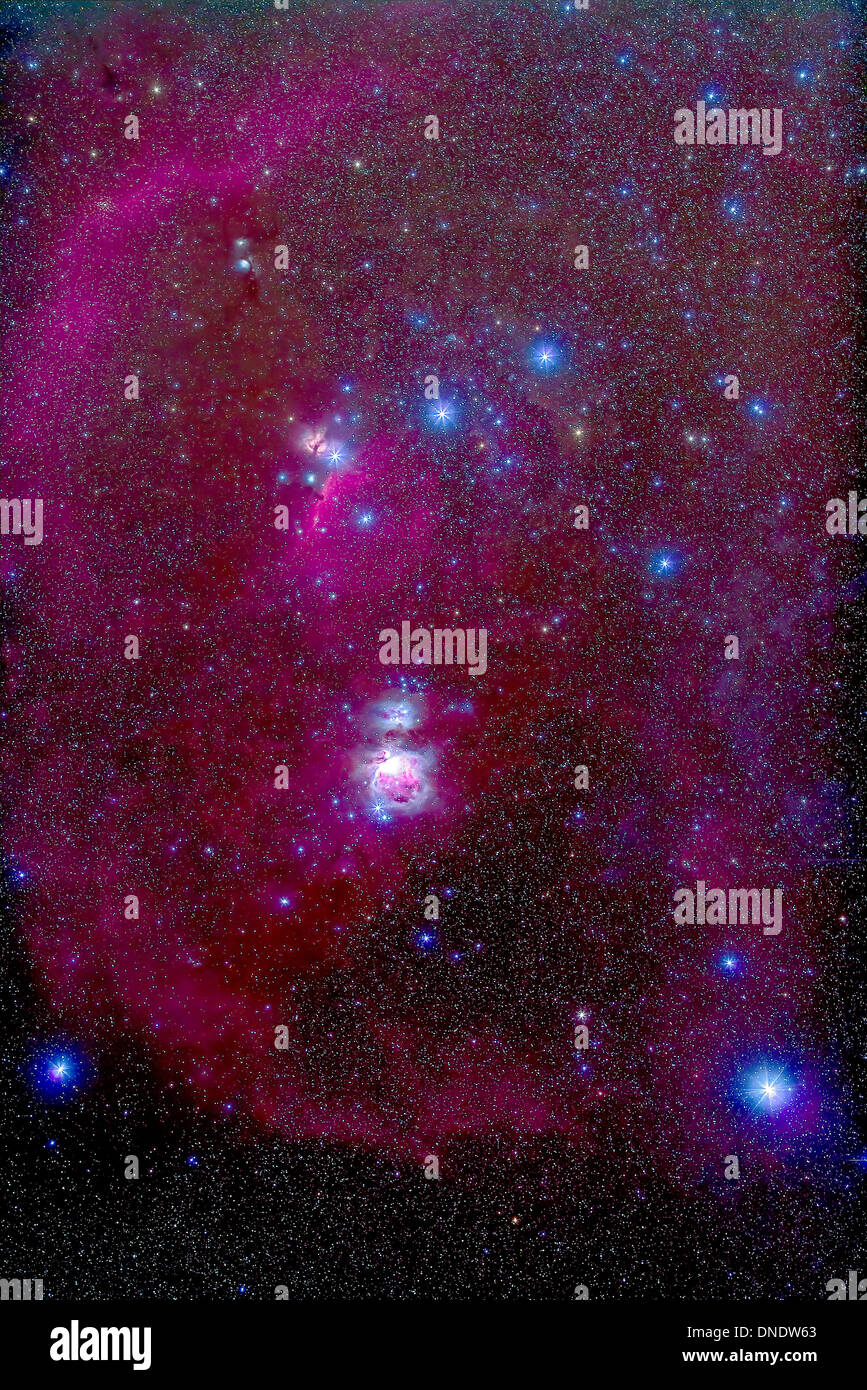 The Orion Nebula, Belt of Orion, Sword of Orion and nebulosity. - Stock Image