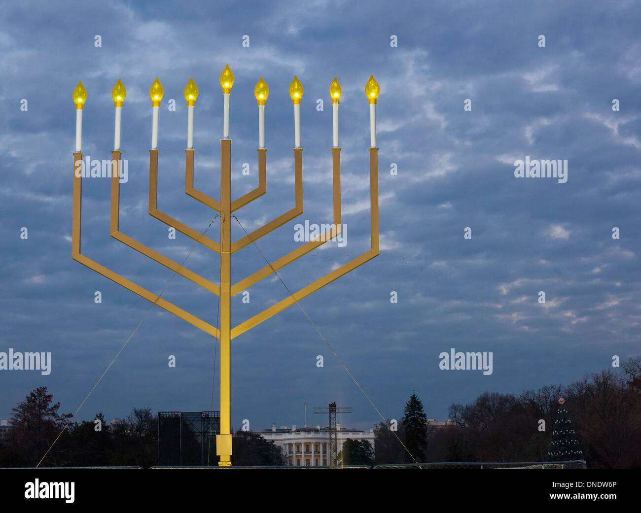 Washington, DC - The National Hanukkah Menorah on the Ellipse near the White House. - Stock Image