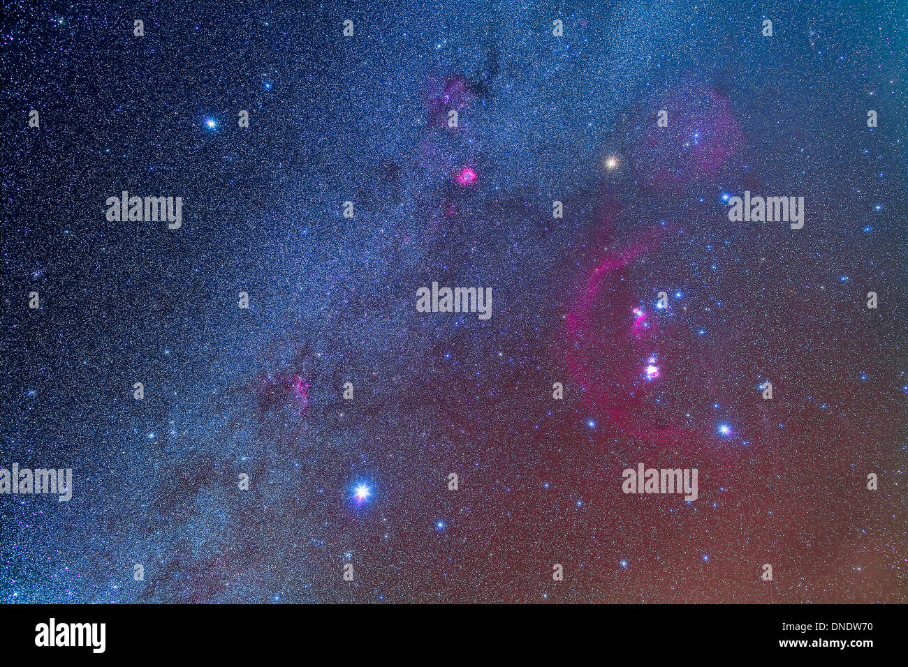 Orion and the Winter Triangle stars. - Stock Image