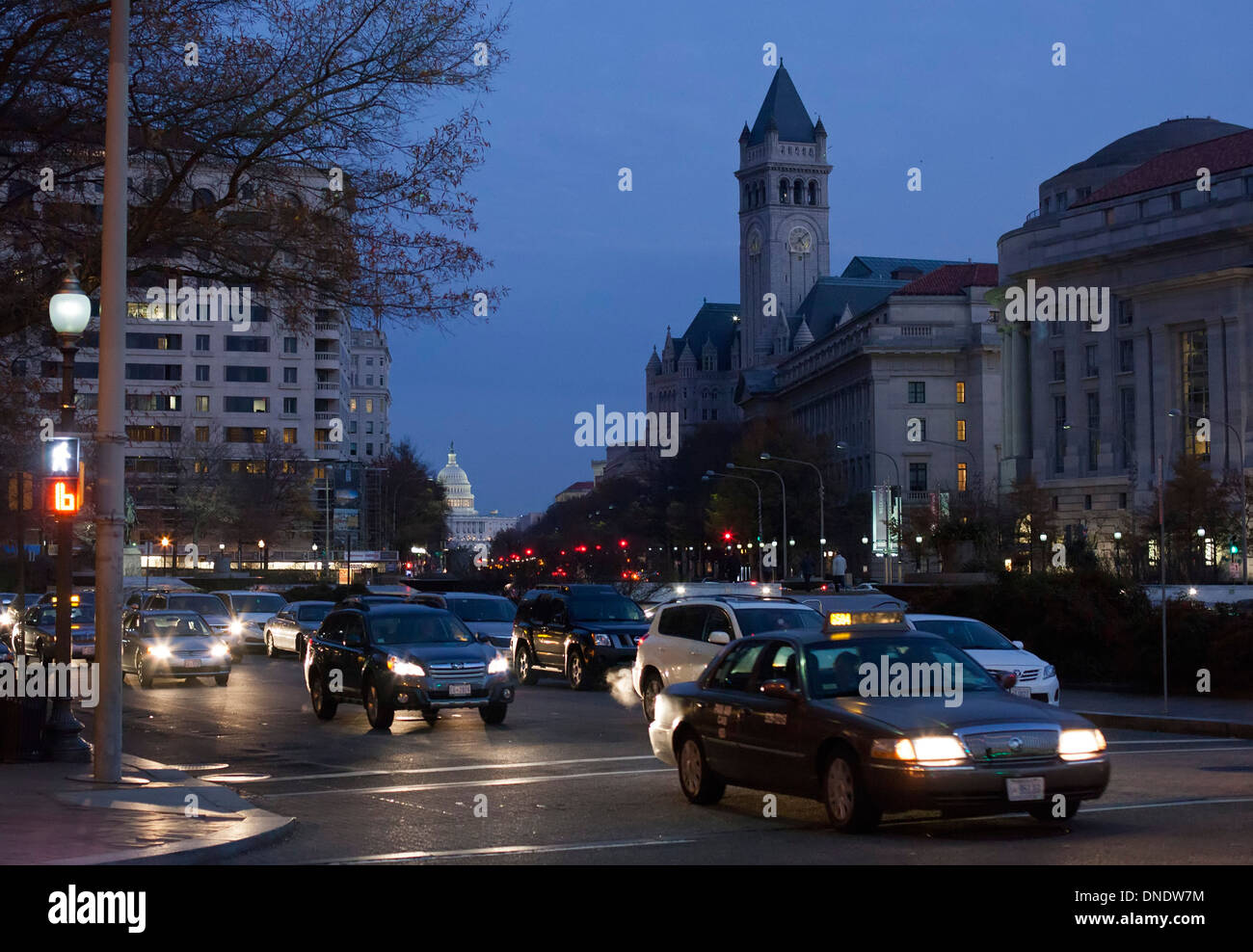 Washington, DC - Pennsylvania Avenue during the evening rush hour with the U.S. capitol in the background. - Stock Image