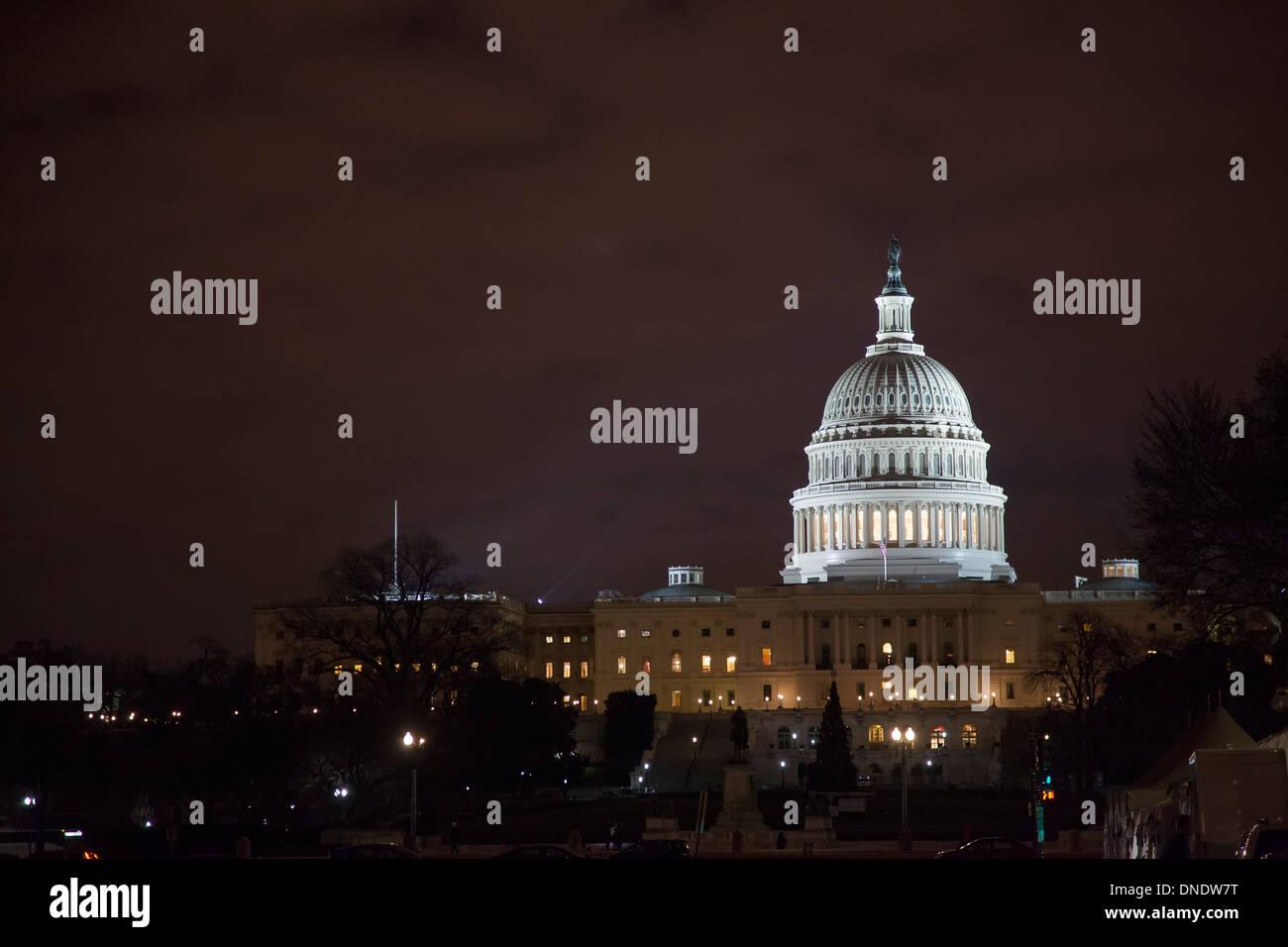 Washington, DC - The U.S. Capitol at night. - Stock Image