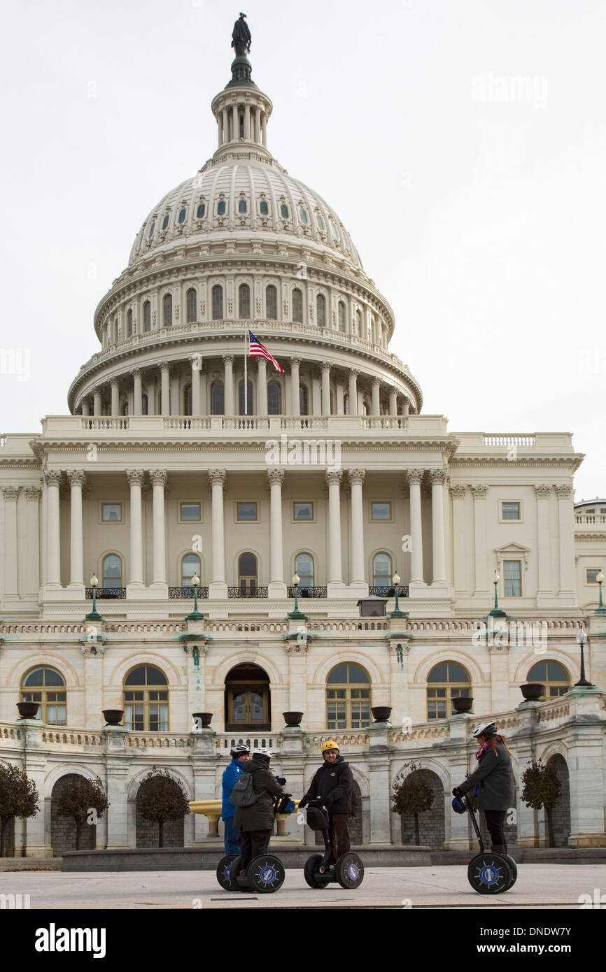 Washington, DC - Tourists on segways at the U.S. capitol building. - Stock Image
