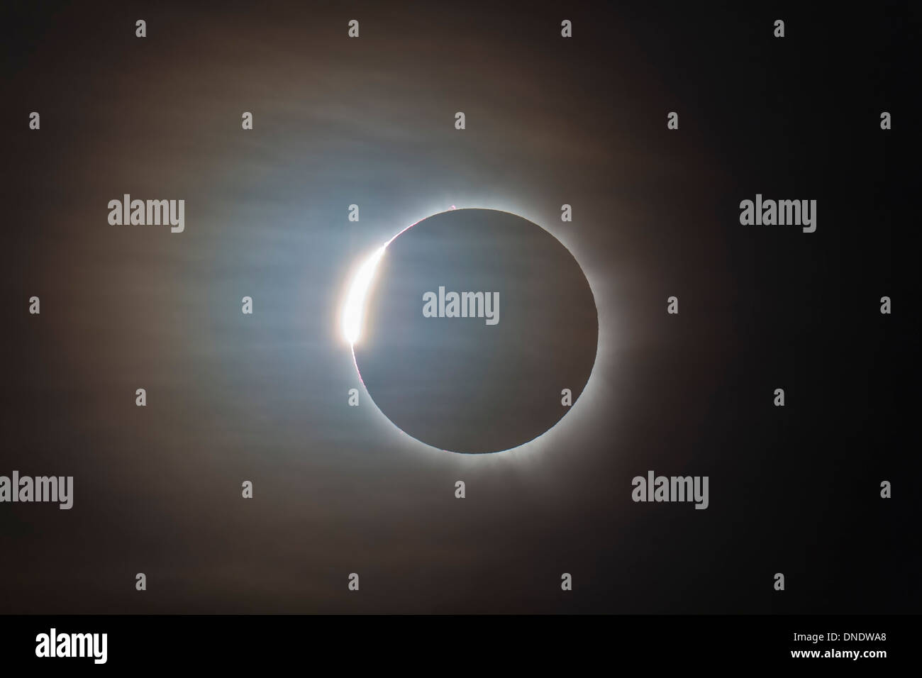 November 14, 2012 - The second diamond ring during the total eclipse of the Sun, Queensland, Australia. - Stock Image