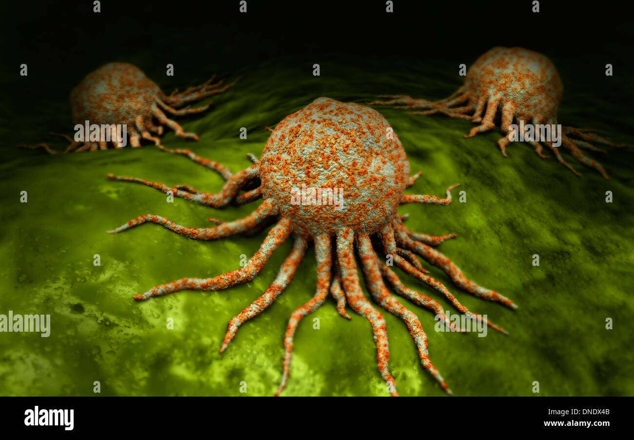 Microscopic view of cancer virus. Stock Photo