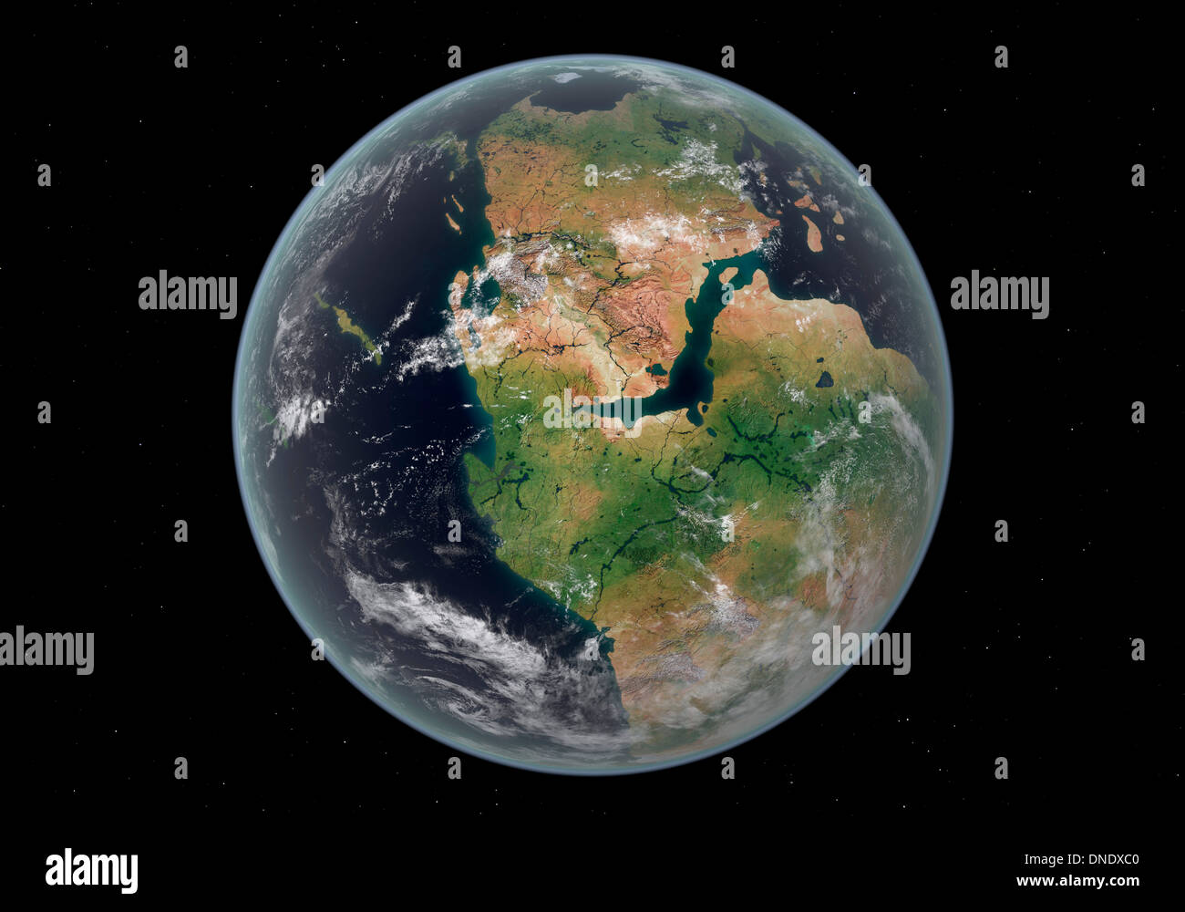 Western hemisphere of the Earth during the Early Jurassic period. - Stock Image