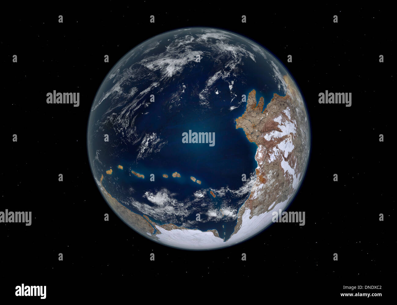 Planet Earth 600 million years ago following the Cryogenian period. - Stock Image