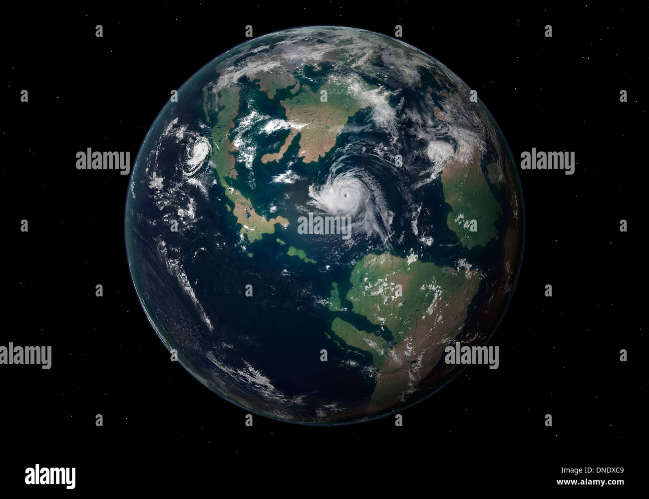 Planet Earth 90 million years ago during the Late Cretaceous Period. - Stock Image