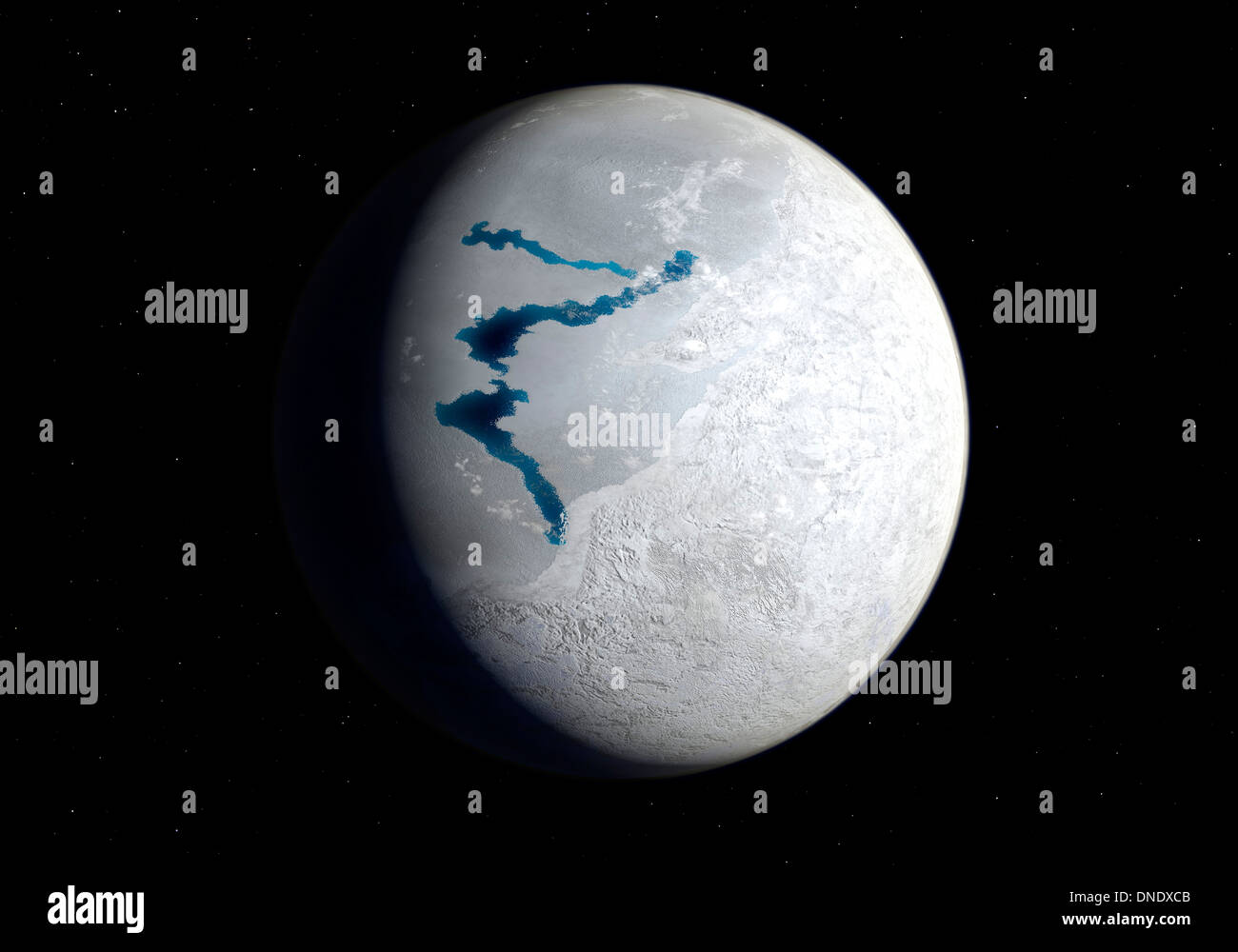 View of Earth 650 million years ago during the Marinoan glaciation. - Stock Image