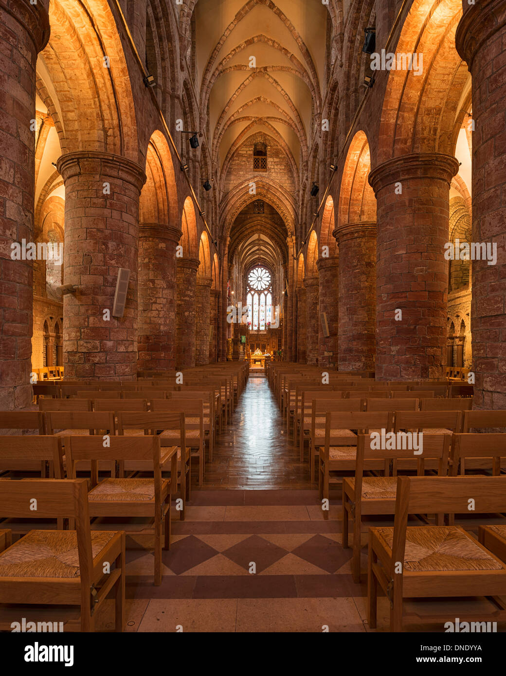 Interior of St. Magnus Cathedral, Kirkwall, Orkney, Scotland - Stock Image