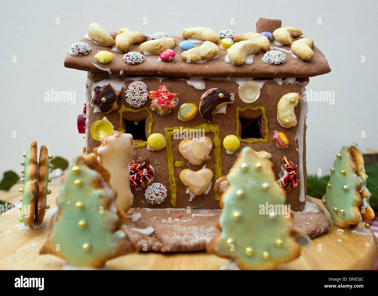 Sauen, Germany. 14th Dec, 2013. A gingerbread house is seen at the August Bier Foundation in Sauen, Germany, 14 December 2013. Photo: Patrick Pleul/dpa/Alamy Live News - Stock Image