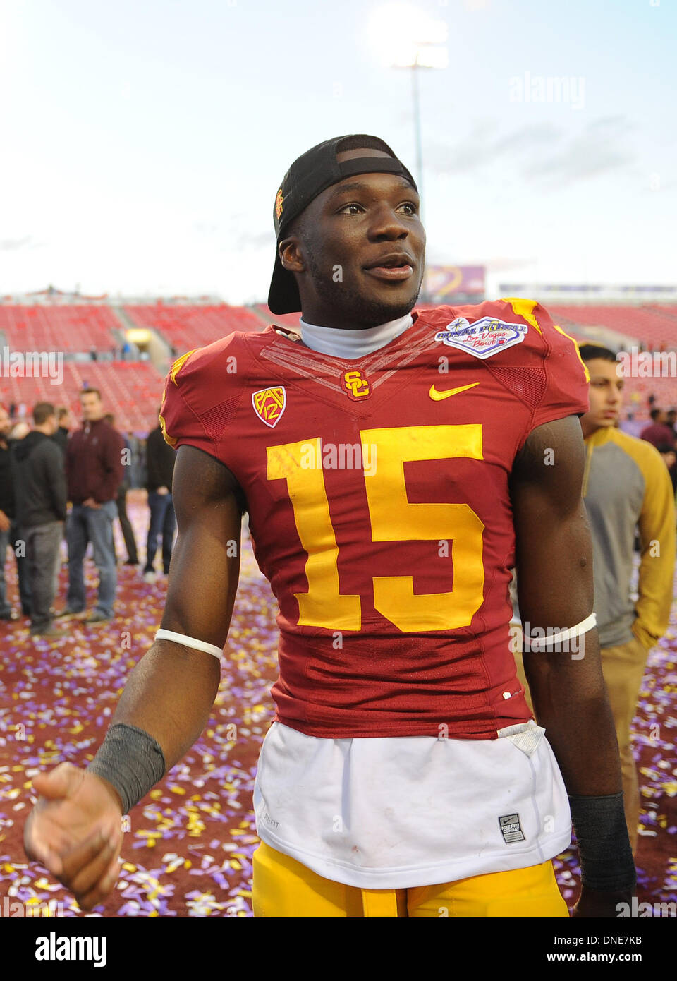 f26dad421dc USC Trojans wide receiver (15) Nelson Agholor talks to fans after USC  defeated the 21st ranked Fresno State 45-20.during the USC Trojans college  football ...