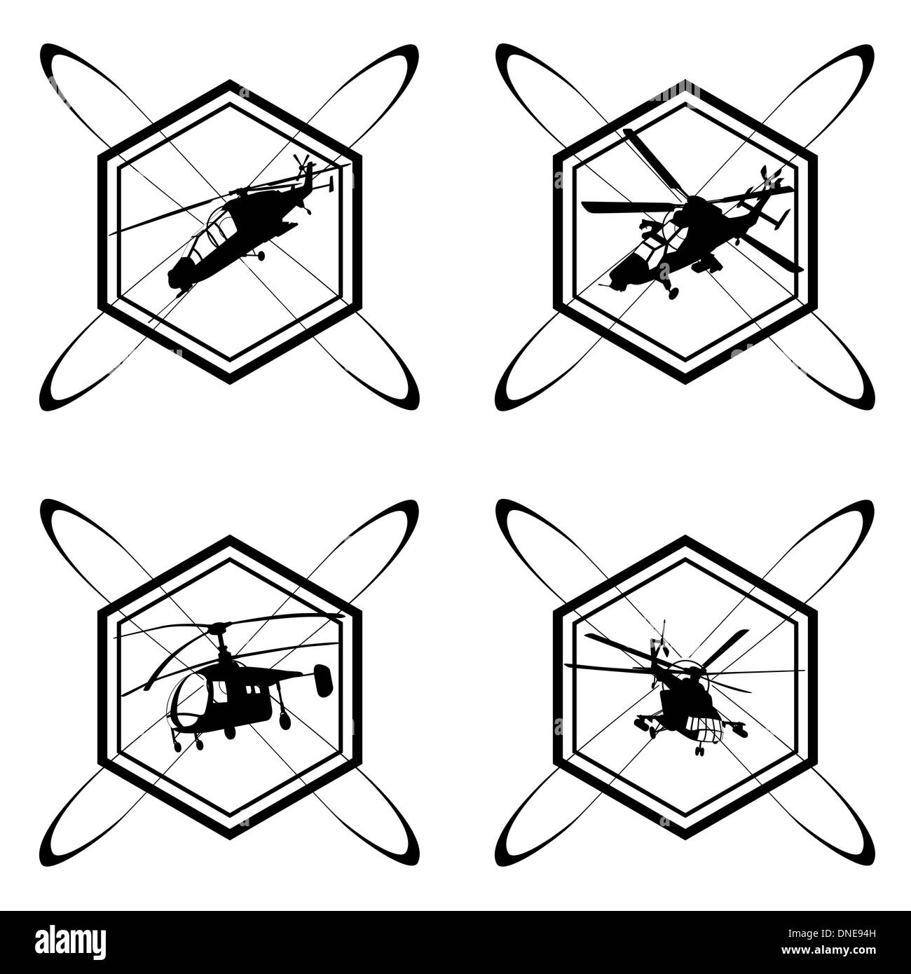 A set of icons with the image of military aviation. The illustration on a white background. - Stock Image