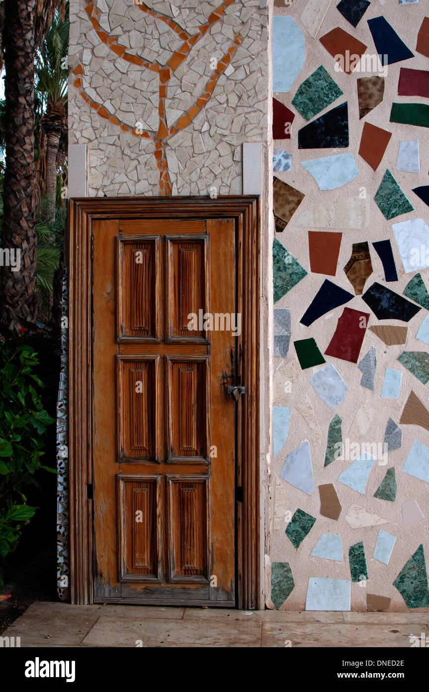 Tile mosaic wall and door, Morro Jable, Fuerteventura, Canary Islands, Spain. - Stock Image
