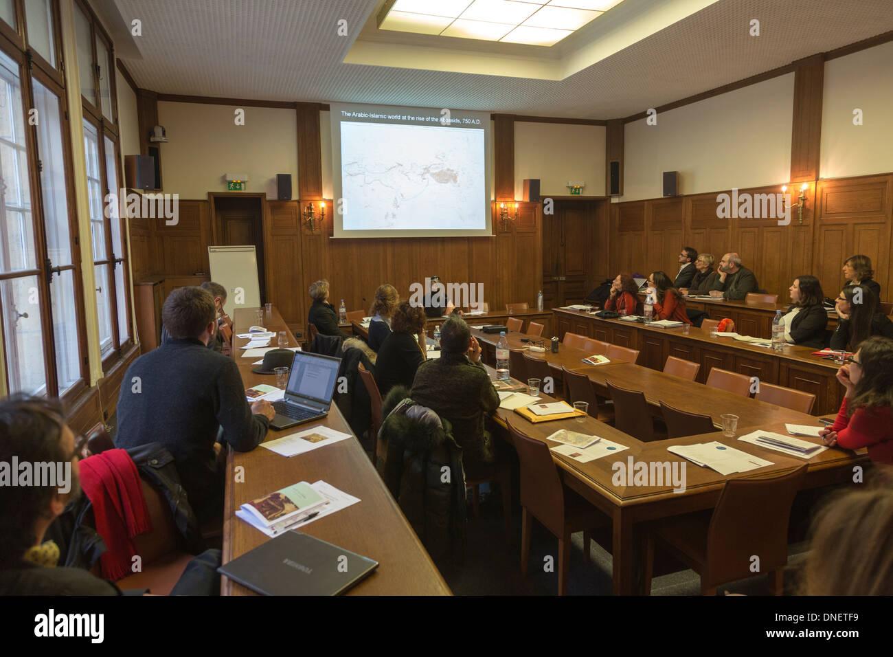 lecturer at symposium, University of Paris, Sorbonne, Paris, France - Stock Image
