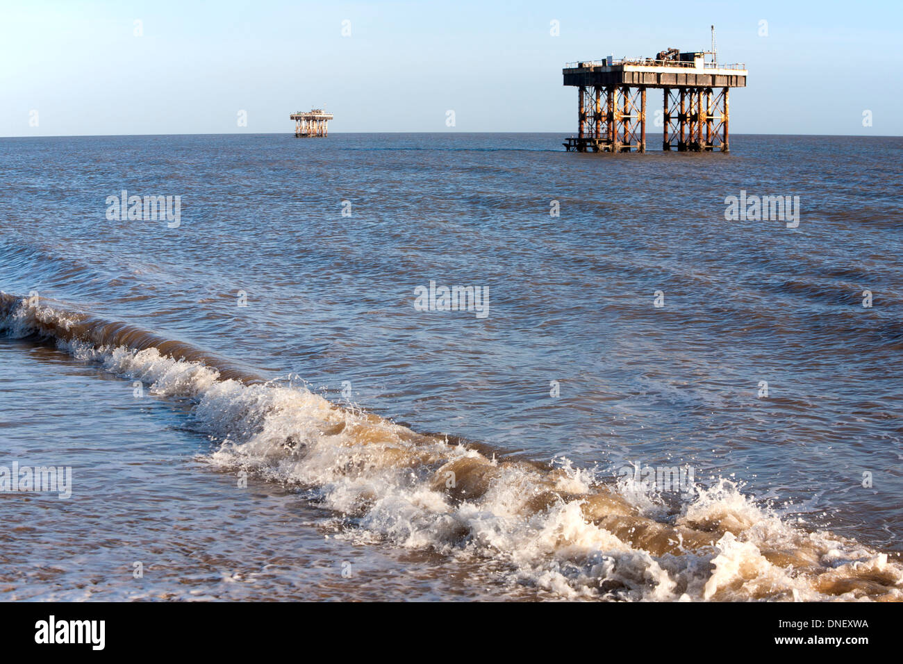 Offshore water supply platforms for Sizewell nuclear power station, Leiston, Suffolk, England - Stock Image
