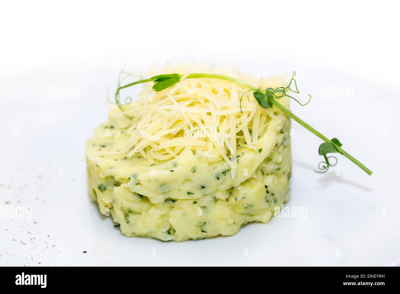 mashed potatoes with herbs and cheese on a white background in the restaurant - Stock Image