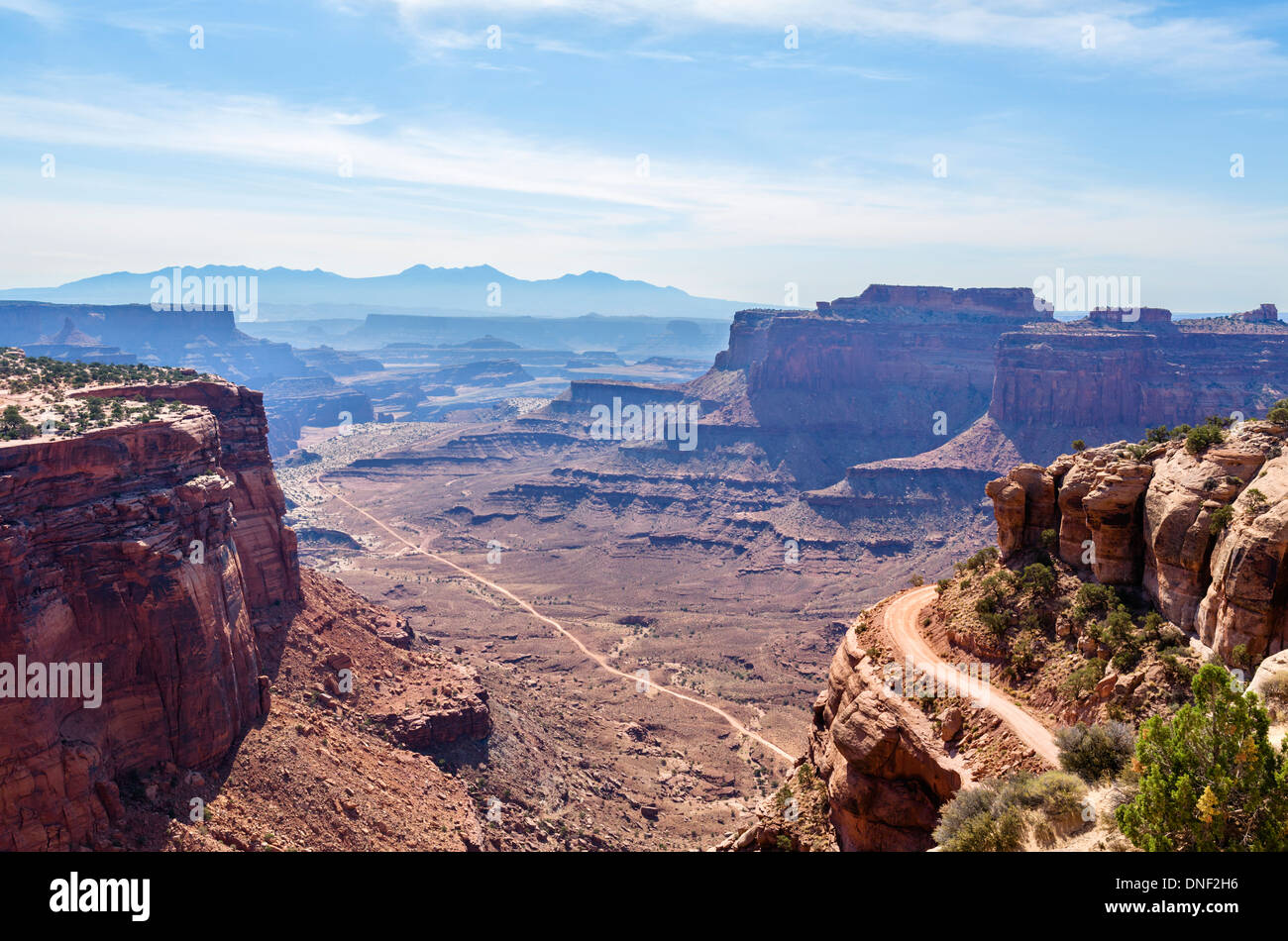View of Shafer Canyon & Shafer Canyon Road from outside Visitor Center, Island in the Sky, Canyonlands National Park, Utah, USA - Stock Image