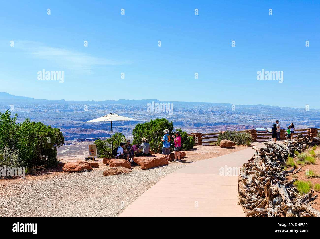 Tourists at Grand View Point, Island in the Sky, Canyonlands National Park, Utah, USA - Stock Image