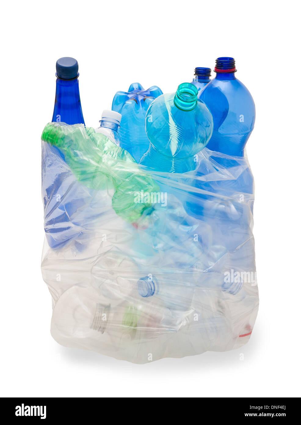 garbage bag with plastic bottles - Stock Image