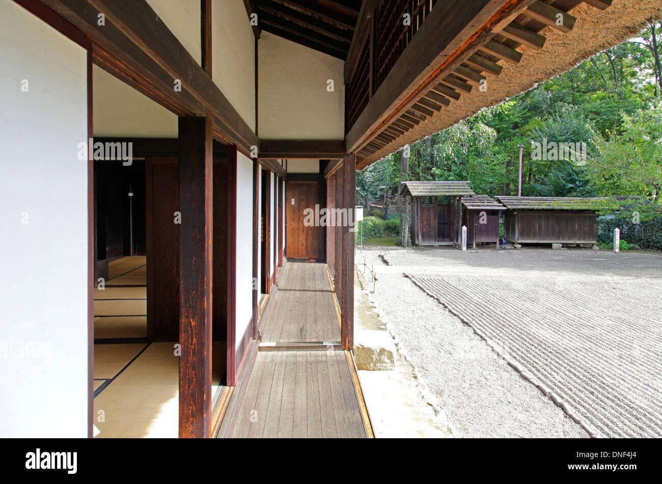 Veranda Of Old Japanese House And Front Garden Tokyo Japan