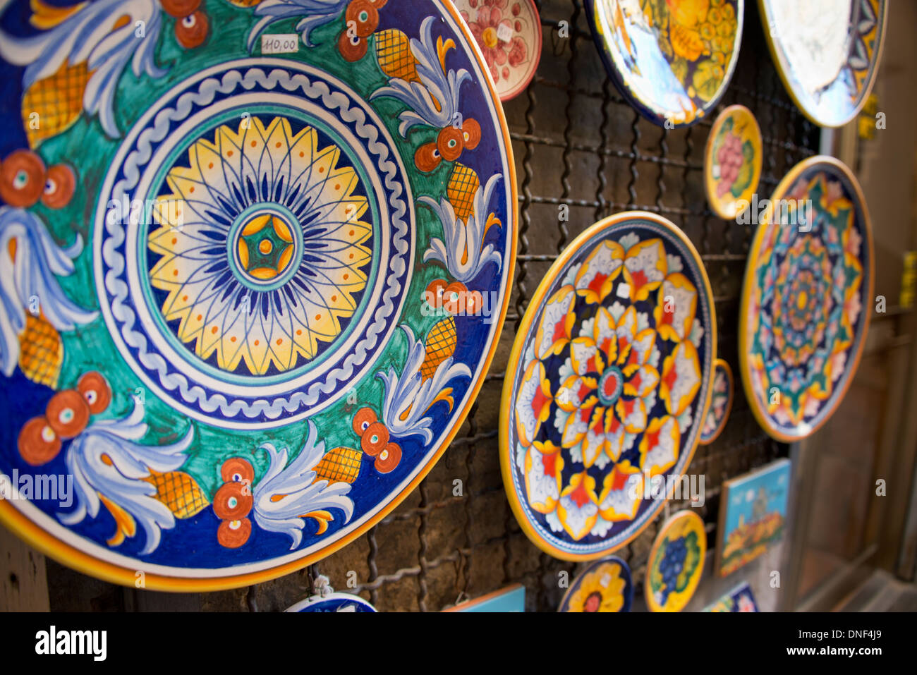 Italy Orvieto. Detail of traditional Italian hand painted pottery plates for sale in the narrow streets of Orvieto. & Italy Orvieto. Detail of traditional Italian hand painted pottery ...