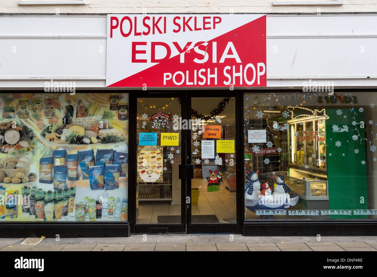 e9e5d8717cc69 Polish shop in shopping centre, Hereford, England, UK Stock Photo ...