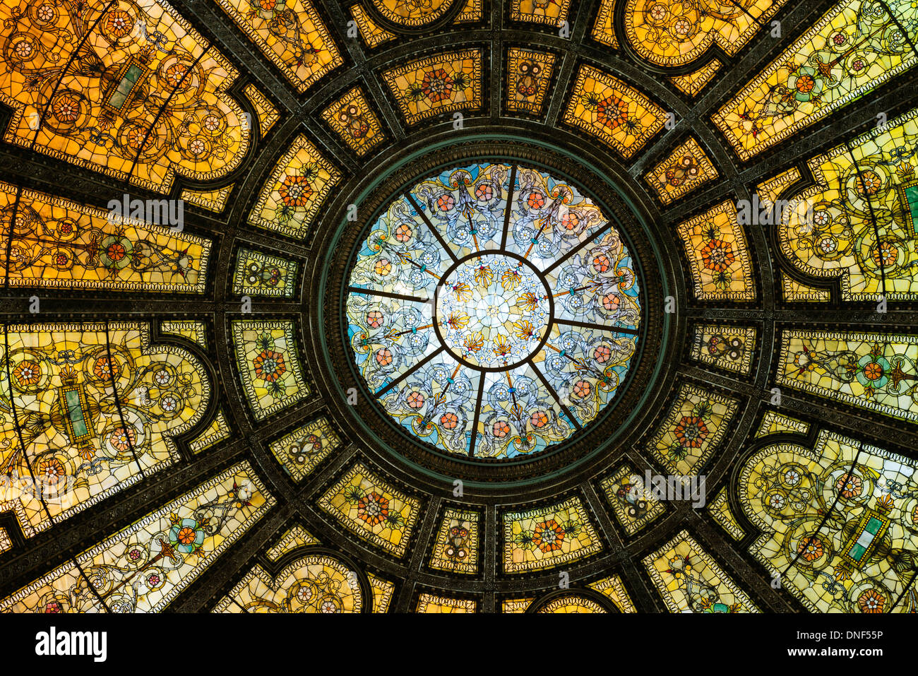 Healy and Millet stained glass dome in the Chicago Cultural Center. - Stock Image