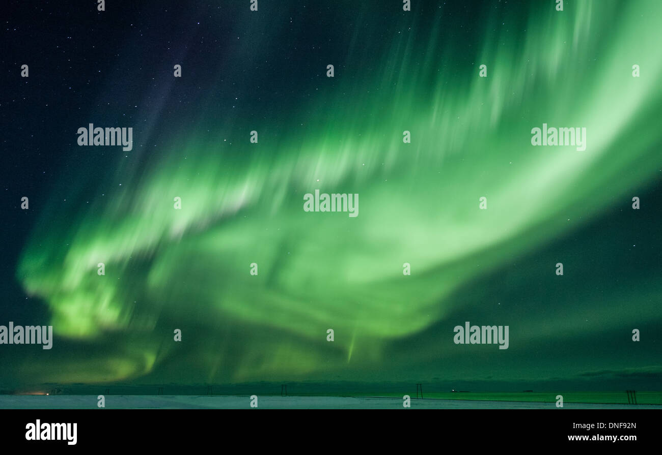 EUROPE ICELAND JOKULSARLON LAGOON TRAVEL VATNAJOKULL GLACIER AURORA BOREALIS - Stock Image