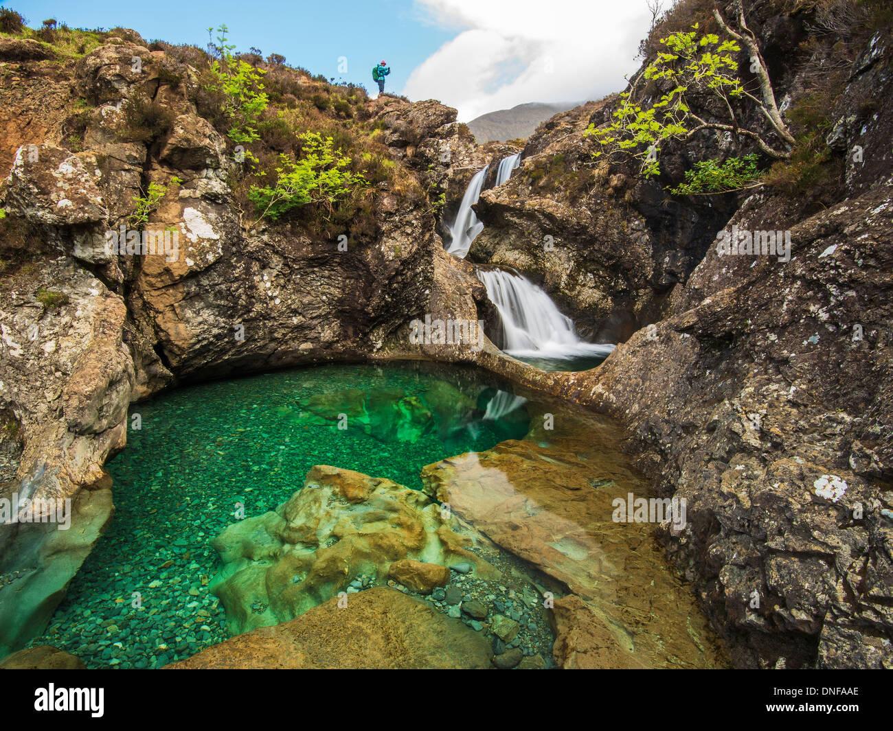Water Flowing Over Rocks At Bride S Veil Waterfall Isle Of Skye Inner Hebrides