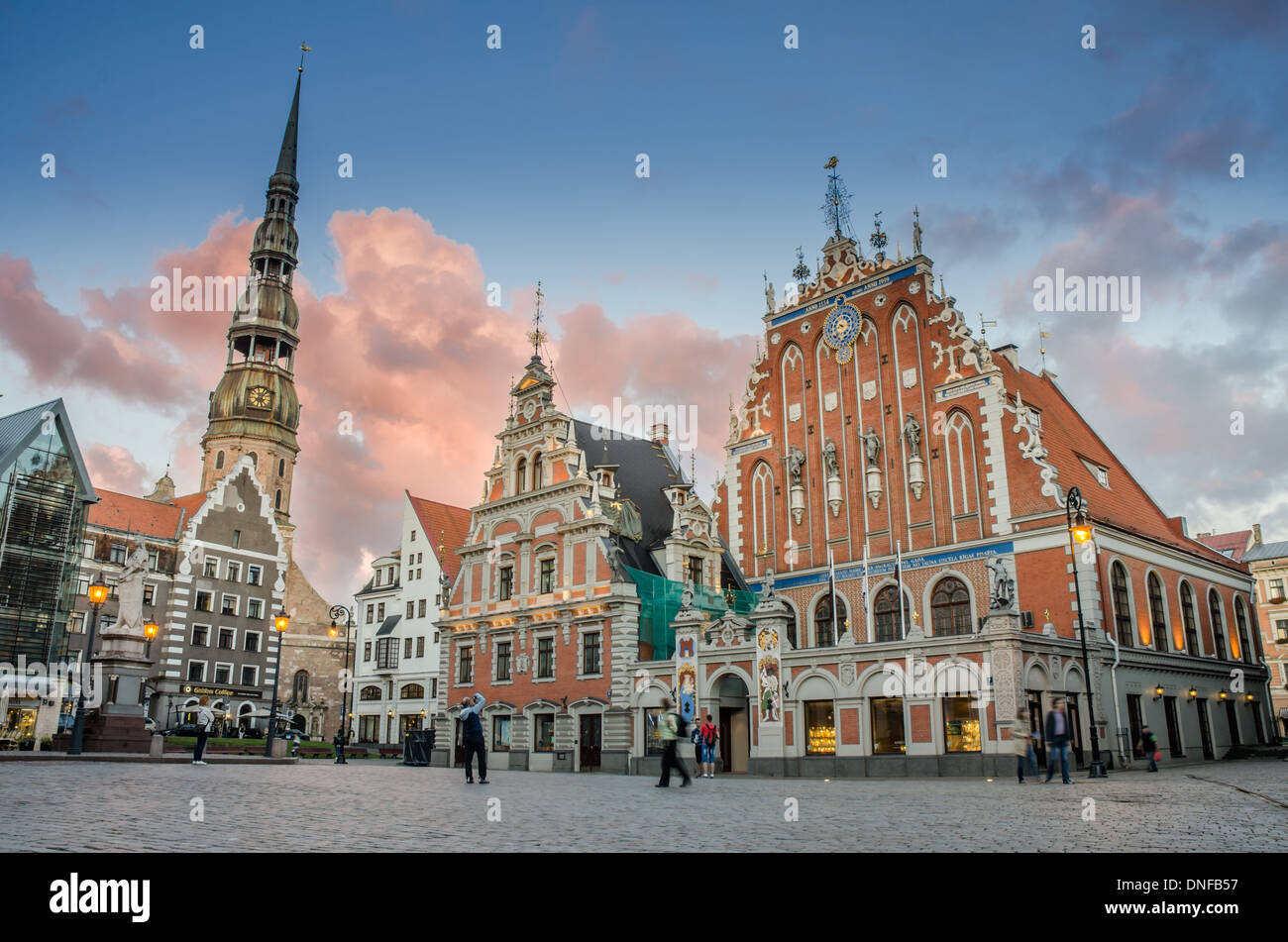 RIGA LATVIA AUG 15: evening view of the saint peter tower and blackhead house in the Old Riga on 15 august 2013 - Stock Image