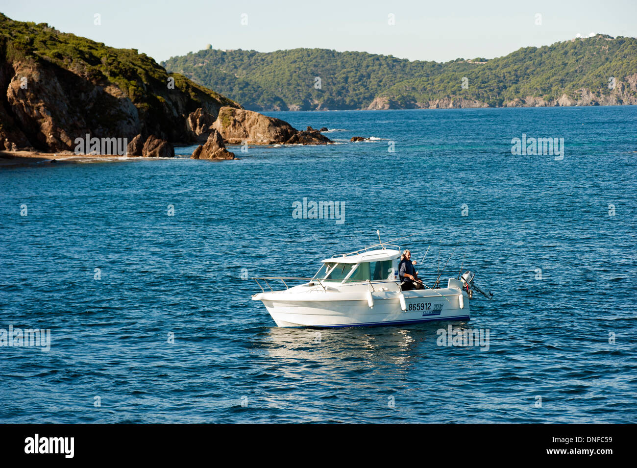 Recreational fishing in Port Cros National Park Hyeres France - Stock Image