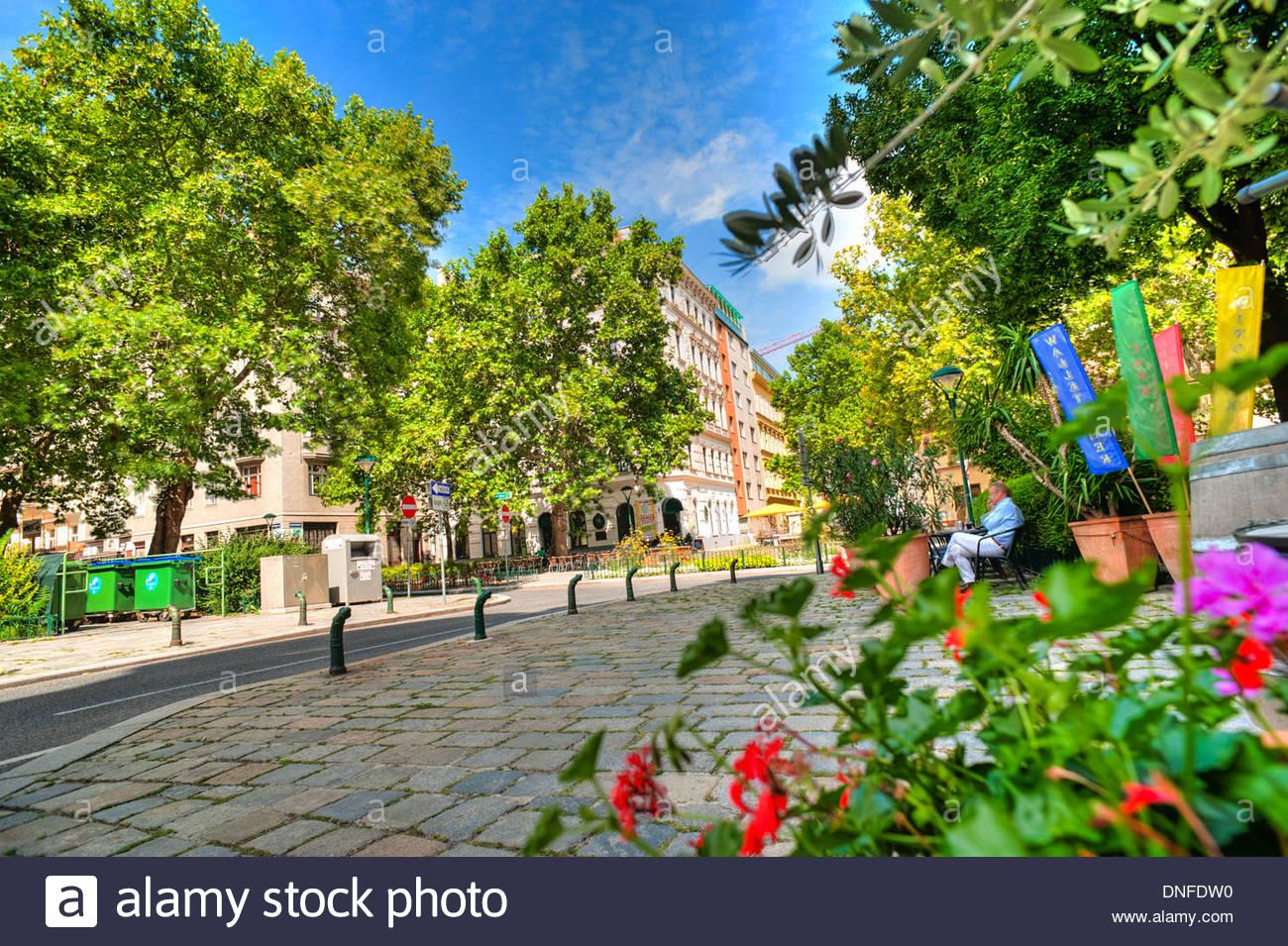 Wien, grüne Gasse, Vienna, Green Alley - Stock Image