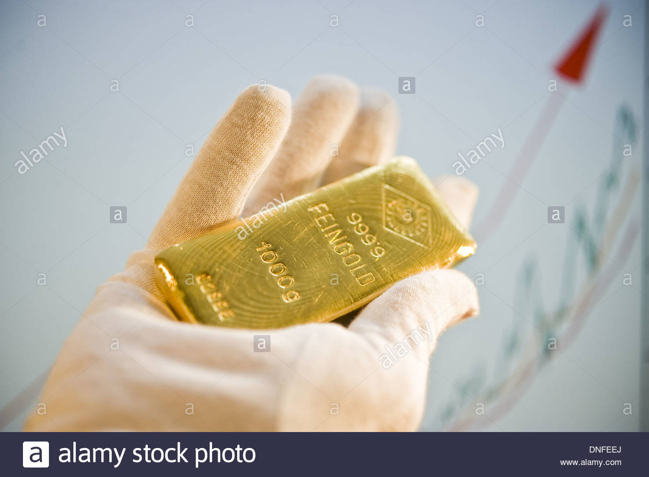 Ein Goldbarren 1 kg, Gold Bar - Stock Image