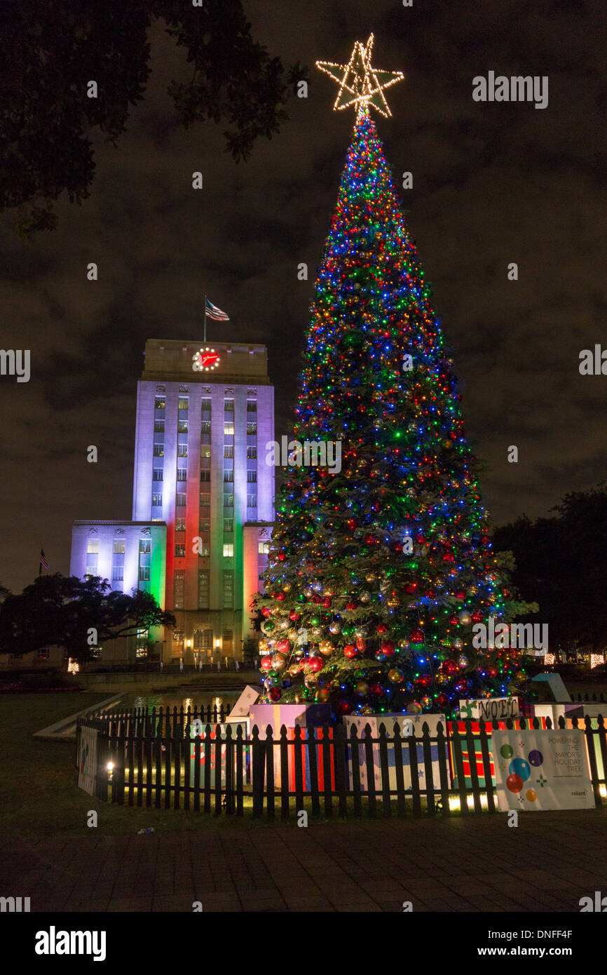Christmas Tree Lights And Houston City Hall Light In Downtown Houston At  Night.