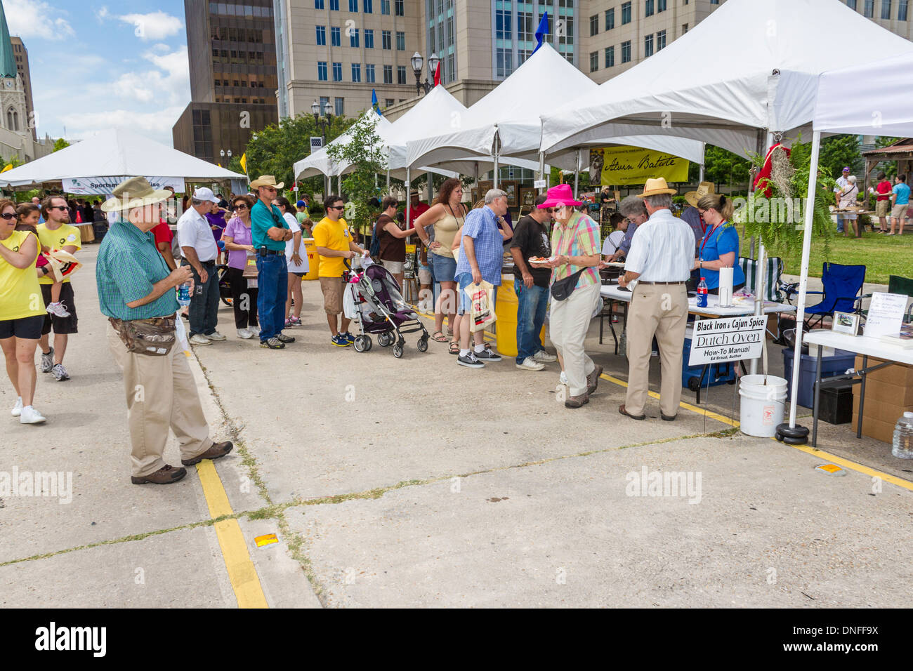 Dutch Oven cooking booth at Louisiana 2012 Bicentennial Family Homecoming Celebration in Baton Rouge. - Stock Image