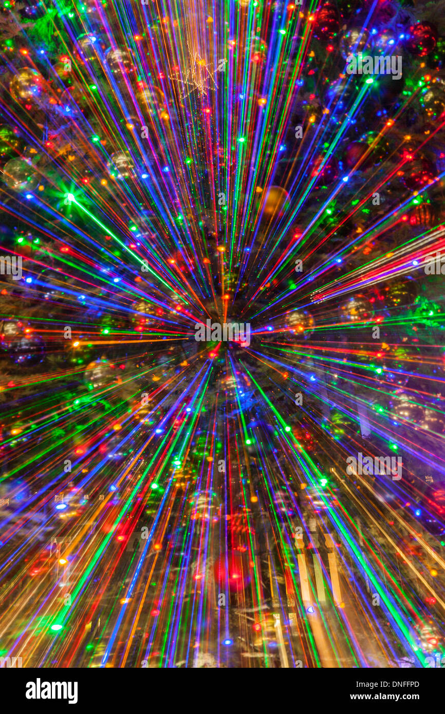 special zooming effects with christmas lights in downtown houston stock image