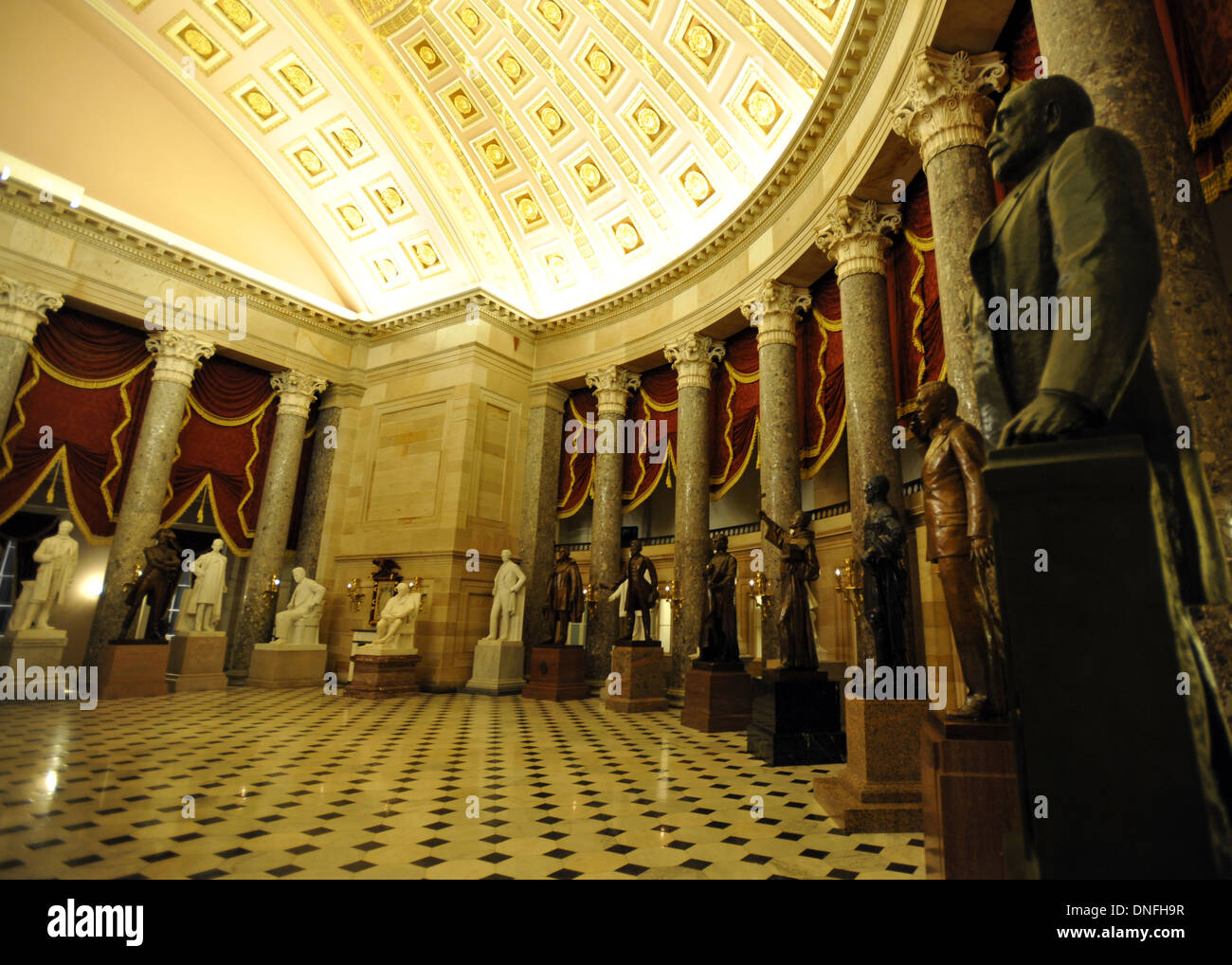 Sculptures of prominent Americans in National Statuary Hall chamber United States Capitol.  The Hall, Old Hall of the House, U.S - Stock Image