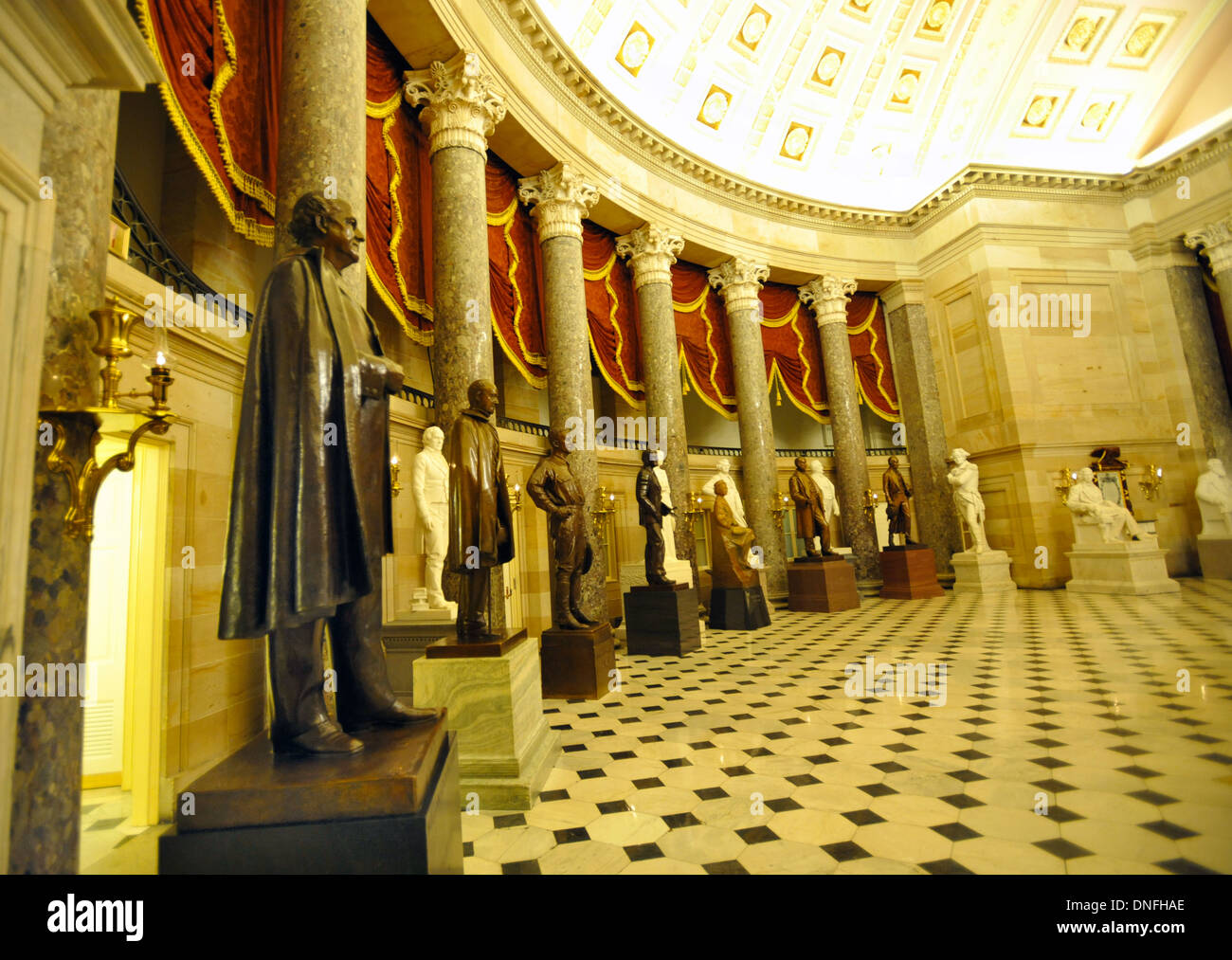 US Capital, National Statuary Hall, chamber in United States Capitol devoted to sculptures of prominent Americans, The hall, - Stock Image