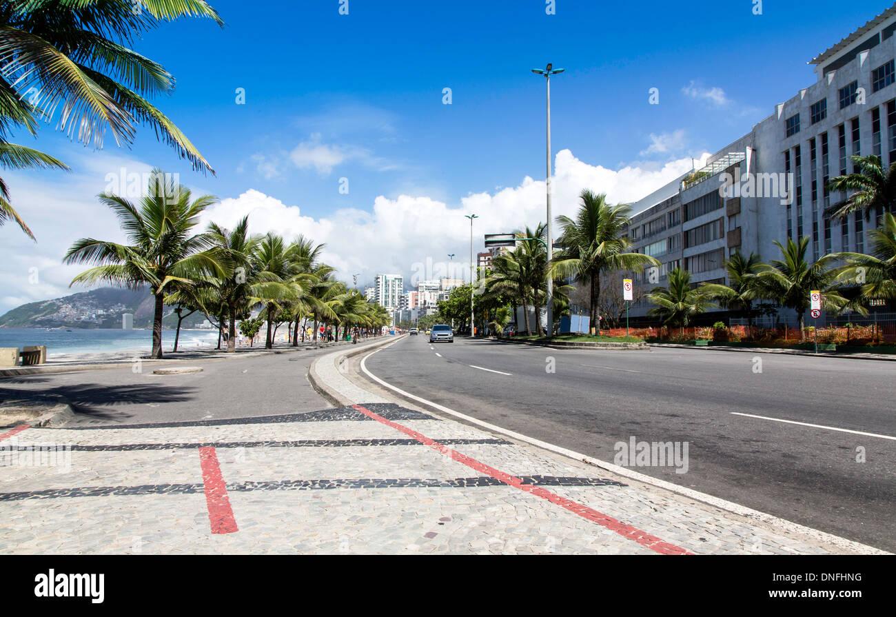 Road by Ipanema Beach in Rio de Janeiro, Brazil - Stock Image