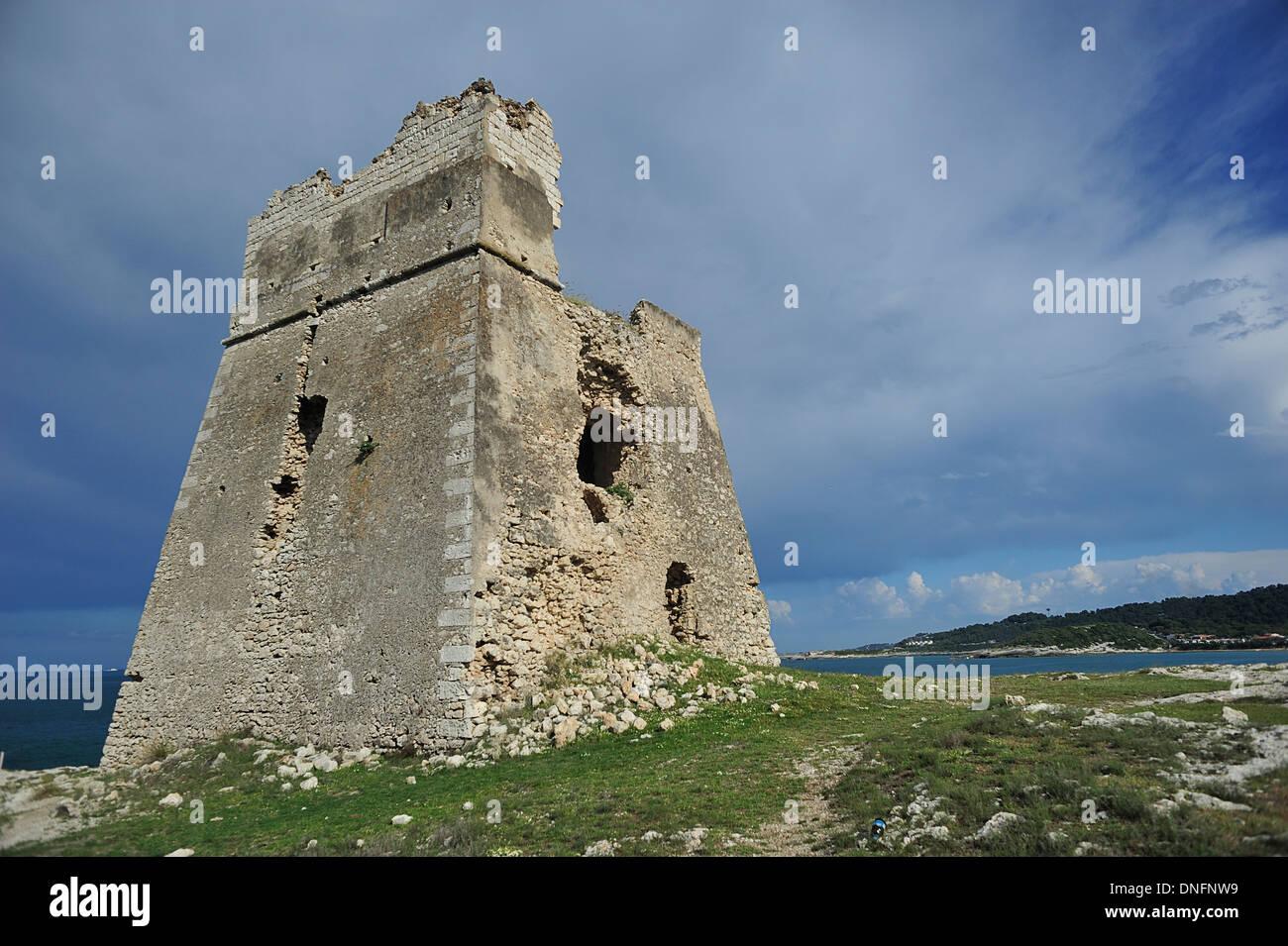 Sfinale Lookout tower, Peschici sul Gargano, Gargano National Park, Foggia, Puglia, Italy - Stock Image