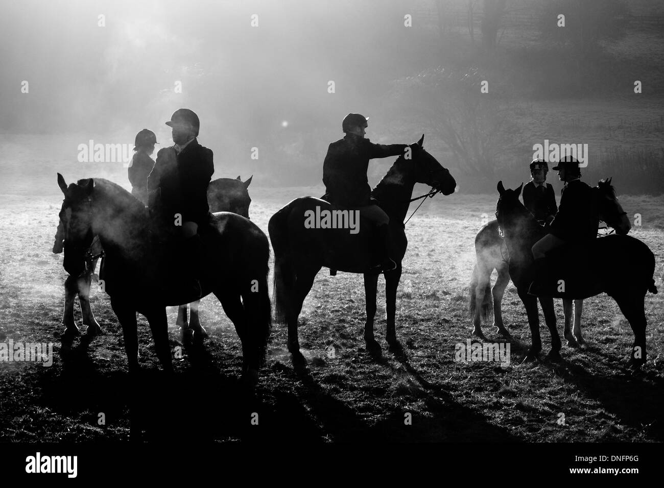 Wentbridge, West Yorkshire, UK. 26th Dec, 2013. Memebers of the The Badsworth & Bramham Moor club gather prior to the annual Boxing day meet in the village of Wentbridge, West Yorkshire Credit:  chris mcloughlin/Alamy Live News - Stock Image