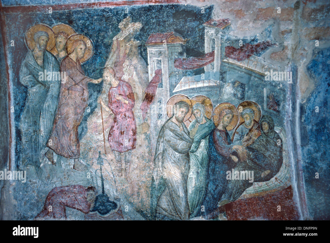 Miracle Jesus Christ Healing Blind Man Parable Byzantine Fresco (c14th) Hodegetria Church Brontochion Monastery Mistra Greece - Stock Image