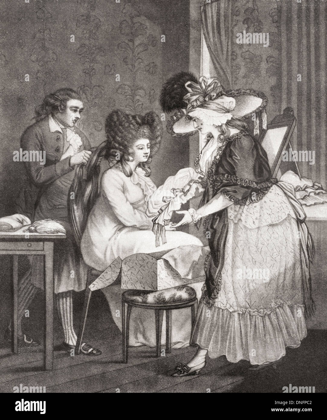 18th century lady at her morning toilette. - Stock Image