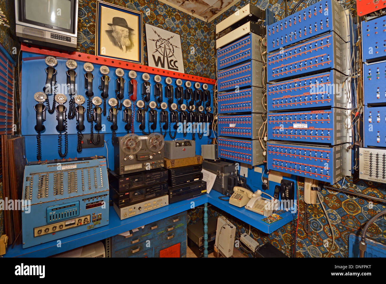 The communications center at Lubavitch World Headquarters where the Rebbe's speeches were transmitted around - Stock Image