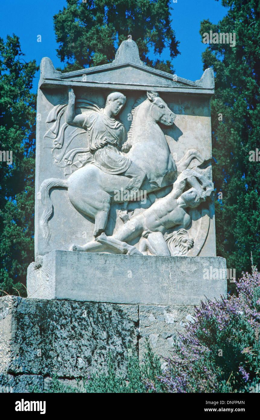 Tomb Greek Soldier or Athenian Cavalryman or Warrior, Dexileos, Killed Corinthian War (393BC) Kerameikos Cemetery Athens Greece - Stock Image