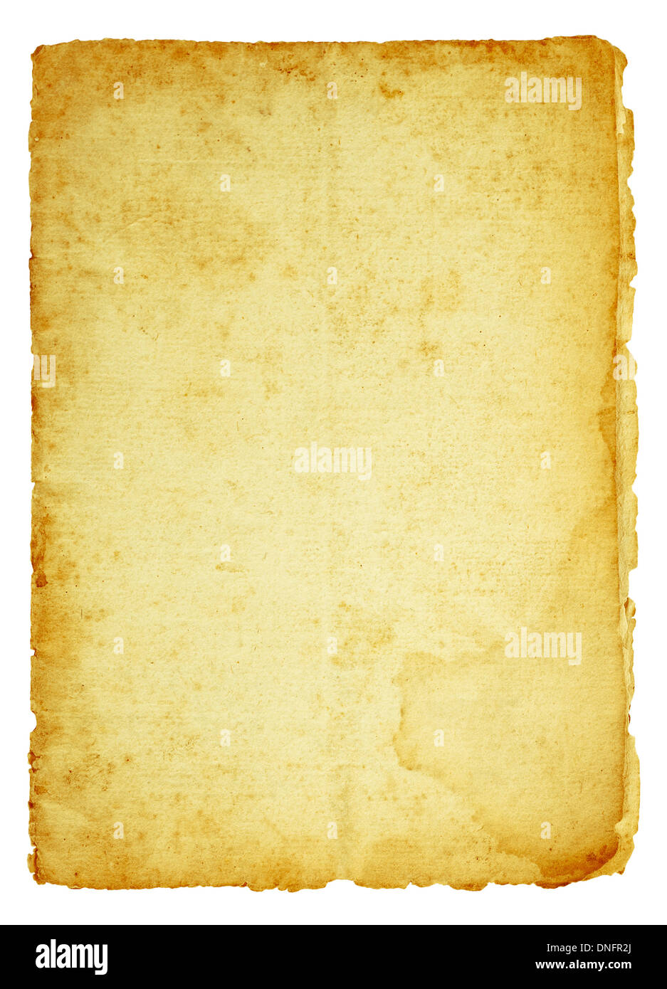 Dirty old paper isolated on white - Stock Image