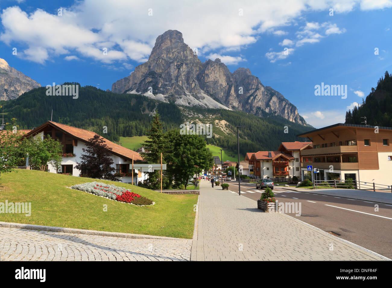 street in Corvara, famous village in Val Badia, Italian Dolomites Stock Photo
