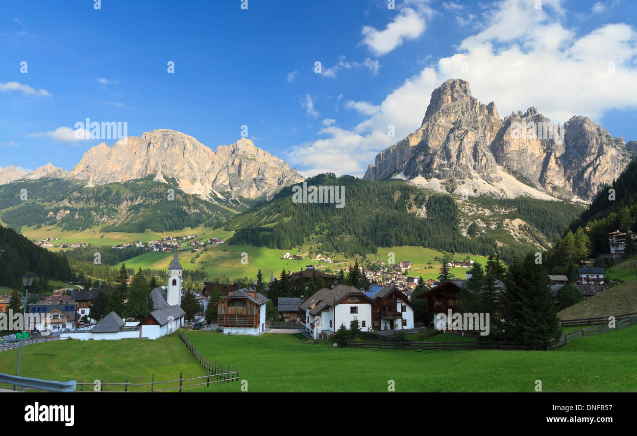 view in Corvara, famous village in Val Badia, Italian Dolomites Stock Photo