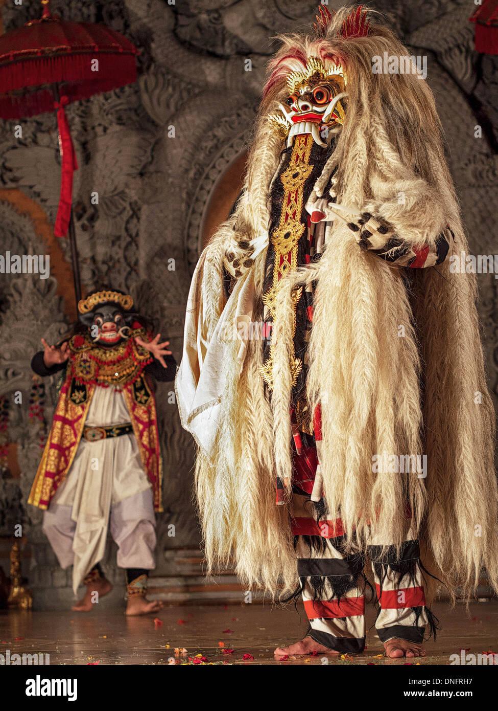 Representation of Rangda in traditional Balinese Barong Dance performance in Ubud, Bali, Indonesia. - Stock Image