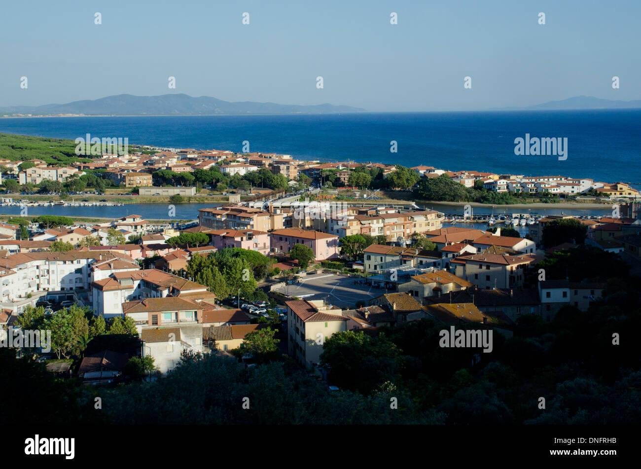 Castiglione della Pescaia from the top, Maremma coast, Grosseto province, Tuscany, Italy - Stock Image